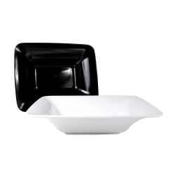 "M1713RC Classic Irregular Bowls Flared Rectangular Bowl 17"" x 13"" x 4"" h., 5.25 qt., Black, White"