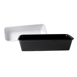 "M176RG Classic Irregular Bowls Long Rectangular Bowl 17"" x 6"" x 4"" h., 4.5 qt., White, Black"