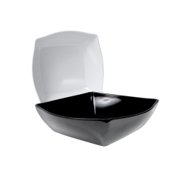 "M13D Classic Irregular Bowls Squarish Bowl 13"" sq. x 3 ½"" h., 5.75 qt., Black, White"