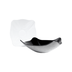 "M11SQPT Classic Irregular Bowls Pebble Textured Bowl 11"" sq. x 4"" h., 2 qt., Black, White"