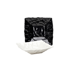 "M10102 Crinkled Paper Square Bowl 10"" sq. x 2 ½"" h., 1.5 qt., Black, White"
