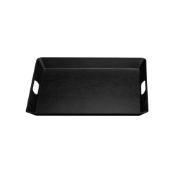 "M15520T-B Service Trays Room Service/Coffee Tray Matte Woodgrain Finish 20"" x 15 ½"" x 1 7/8"" h., Black"